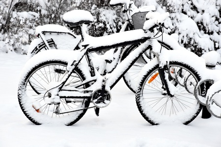 Bikes covered by snow in bicycle rack  photo