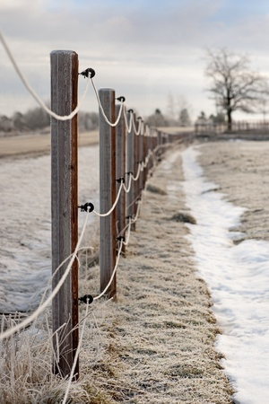 rime frost: Electric fence with rime frost in rural area Stock Photo