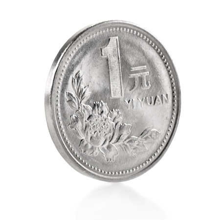 Chinese one yuan coin isolated on white photo