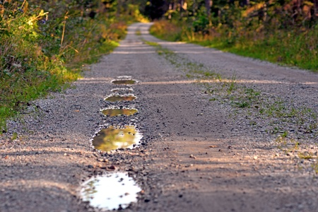 pot hole: Close up of pot holes with rain water in dirt road in summer