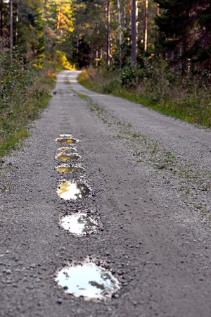 pot hole: pot holes with rain water in dirt road in summer Stock Photo