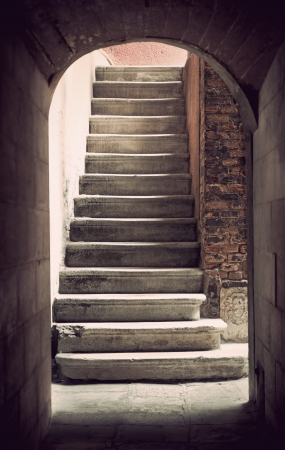Mysteus ancient empty staircase in sepia Stock Photo - 18405884