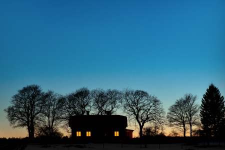 bare trees: silhouette of house with bare trees on dark blue sky in evening