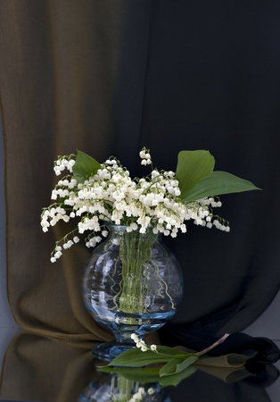 Still life with vase of lily of the valley on brown background photo