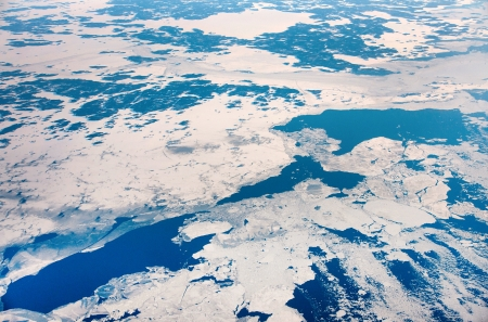 ice floes: Winter landscape with ice floes in sea seen from above
