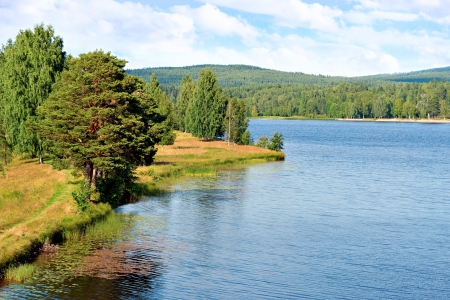 River in sweden on bright summer day Stock Photo