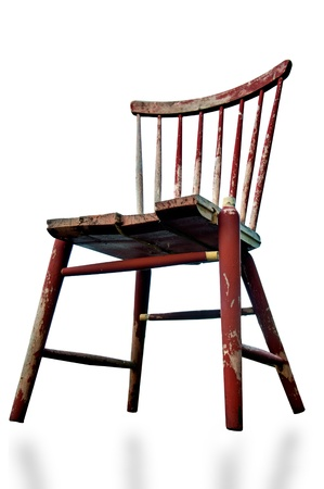 Low Angle View Of Old Tatty Wooden Chair Isolated On White Stock Photo    21521731