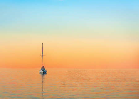 archipelago: yacht in evening with beautiful sky