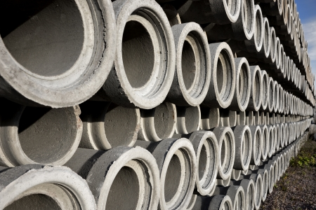 diminishing: Stack of concrete drainage pipes with diminishing perspective