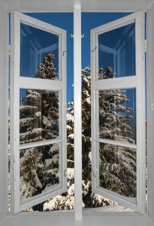 winter window: cold scandinavian winter landscape with spruce trees covered in snow, viewed through open window