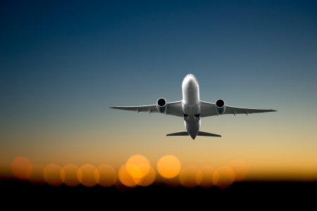 aircraft take off: Low angle view of jet  airliner taking off