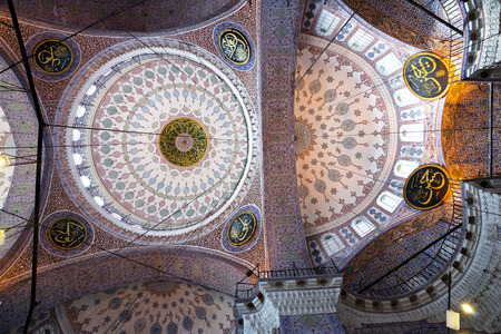 camii: Ceiling of  eminonu yeni camii  the new mosque  in Istanbul, Turkey