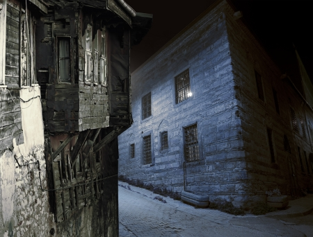 Spooky street in rough part of city