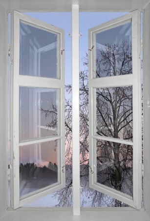rime frost: winter sunset and tree with rime frost seen through old window