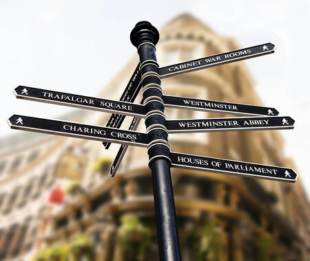 places of interest: Sign with directions to places of interest in London City