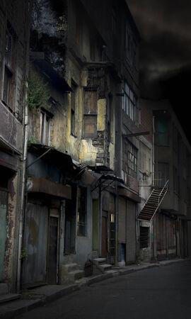 dark alley: Spooky empty grunge alley on dark night