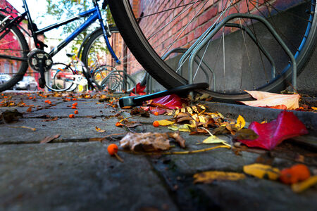 locked up: Close up of  locked bicycle in city in autumn