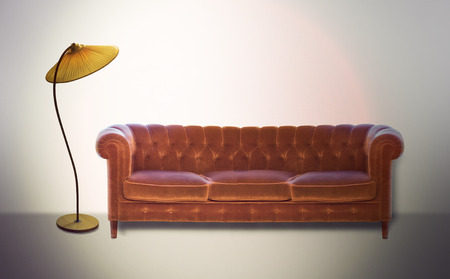 settee: Vintage settee and lamp in sepia