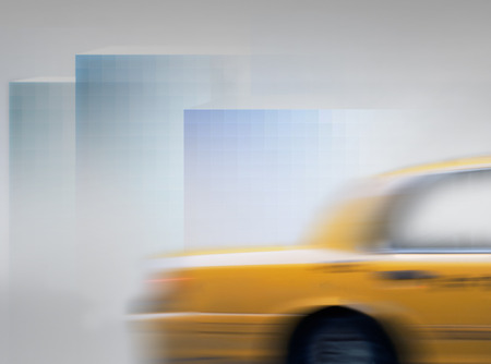 yellow cab: Yellow cab in blurred motion in abstract city landscape
