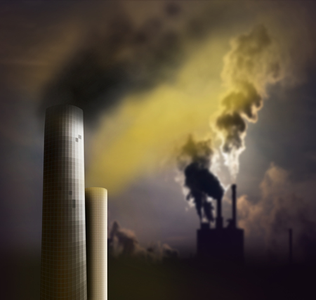 smoke effect: Pollution from chimney with smoke
