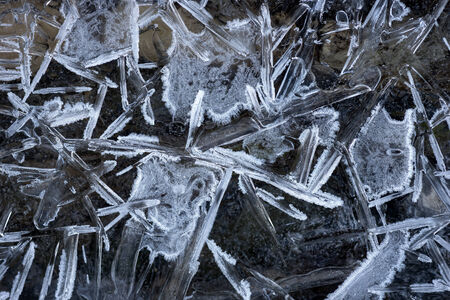 frozen lake: pattern of ice crystals on frozen lake Stock Photo