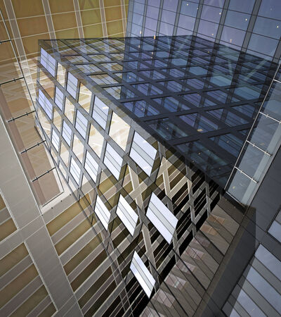 sky scraper: Abstract image of office building in blue and beige