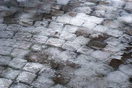 cobble: Background with cobble stones covered in ice Stock Photo
