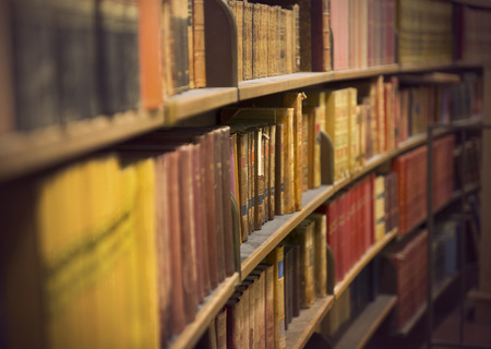 antique books: Library or book store with rows of old antique books