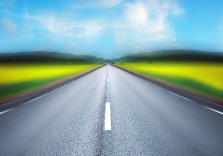 tunnel vision: Empty asphalt road with illusion of motion Stock Photo