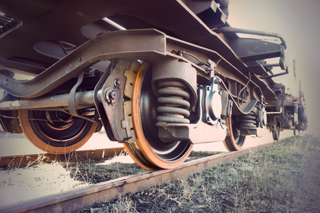 Low angle view of wheel of vintage train Stock Photo