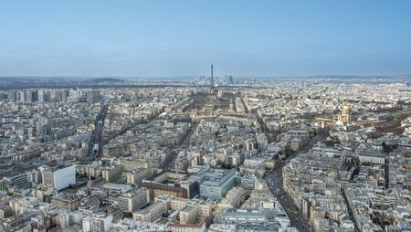 eg: Panoramic aerial view of Paris, France, with, e.g. the Eiffel tower, Les Invalides, and in the background La Defense Stock Photo