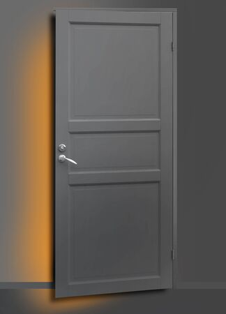 possibility: Slightly open gray door with light in the gap