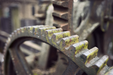 cogwheel: Close up of rusty vintage cogwheel with fungus on vintage water lock Stock Photo