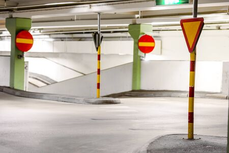 car park: Traffic signs in multi-storey car park