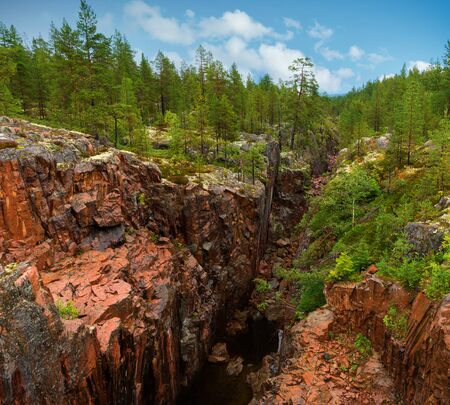 wilderness area: canyon in wilderness area with red rock and river at the bottom