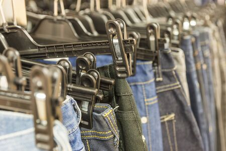 second hand: Jeans for sale in second hand shop