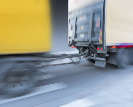 attachment: Close up of attachment of trailer to truck in blurred motion Stock Photo