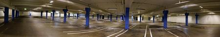 car park interior: Panoramic view of empty indoor car park