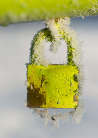 ice crystals: Green padlock with ice crystals on cold winter day