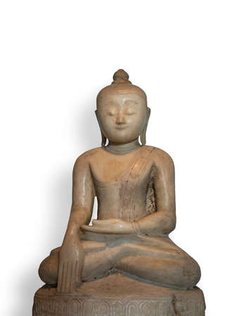 century: Ancient shakyamuni Buddha statue from 17th century, isolated on white