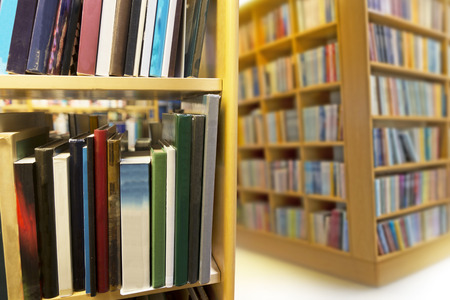 organised: interior from public library, close up of bookcase Stock Photo