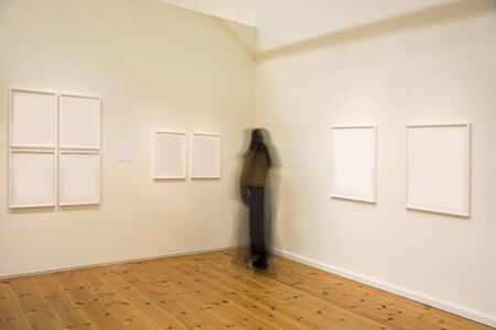 woman looking: Woman in blurred motion studying picture in exhibition Stock Photo