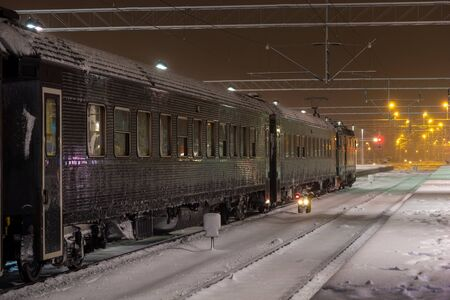 Frozen tree at station at night