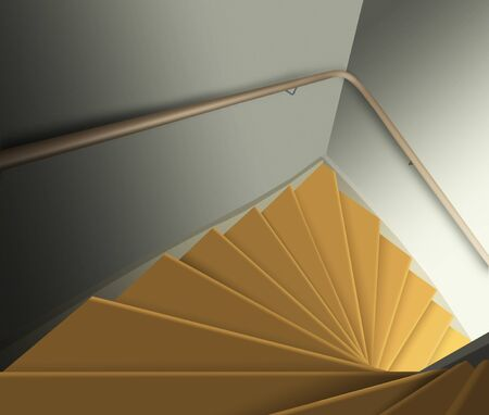 Looking down staircase with light at the bottom. 3d rendering.