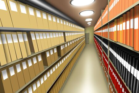 Document archive with many files and binders on shelves in basement room with electric lights, diminishing perspective and shadows providing 3D illusion. Illustration, deign.