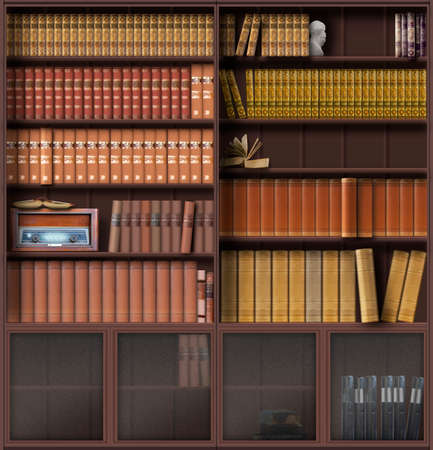 Traditional bookcase with vintage books and a radio. Cupboards with glass doors at the bottom. 3d design.
