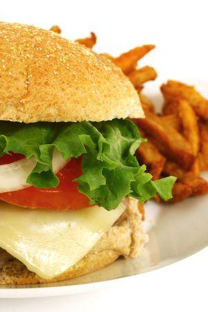 Burger and fresh fries Stock Photo - 5565570