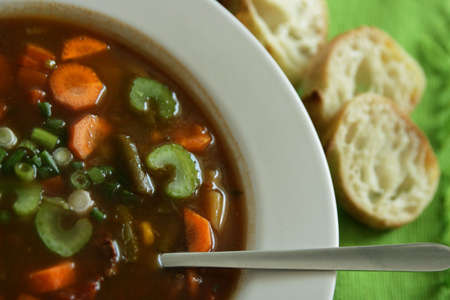 chunky: close up of a vegetables soup