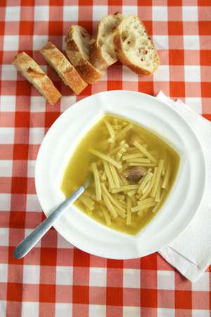 chunky: noodle soup Stock Photo