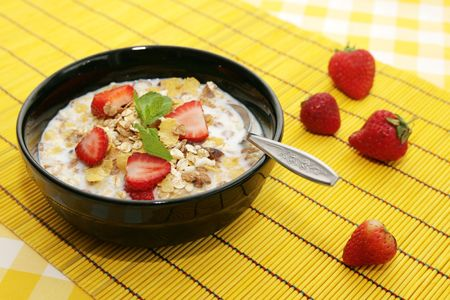 Cereals with strawberry photo